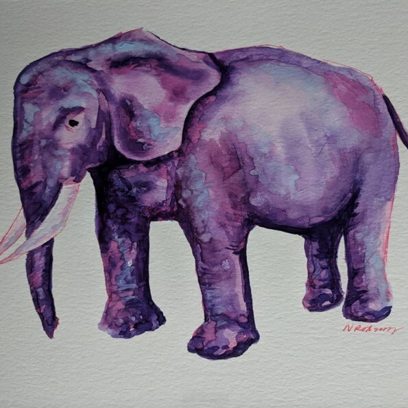 watercolor painting of purple elephant